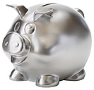 Silver piggy bank on white background, close up - WBF001575