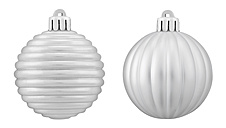 Two silver christmas bauble against white background, close up - WBF001611