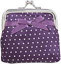Purple purse with white dots on white background, close up - WBF001537