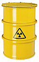 Yellow container with  Radioactive Warning Symbol on white background - WBF001650