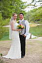 USA, Texas, Bride and groom smiling, portrait - ABAF000261