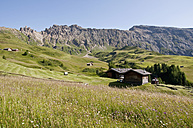 Italy, View of Seiser Alm, alpine meadow and alpine huts, Rosszaehne in background at South Tyrol - UMF000406