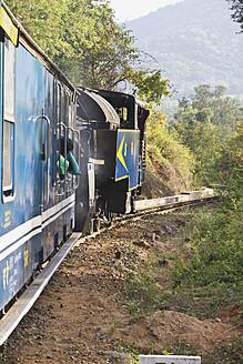 India, Tamil Nadu, Passenger travelling by Nilgiri Mountain Railway - MBE000551