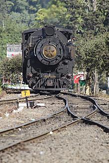 India, Tamil Nadu, Nilgiri Mountain Railway passing through rail track - MBE000556