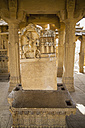 India, Rajasthan, Jaisalmer, View of tombstones at Bada Bagh Cenotaphs - MBE000489