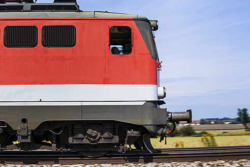 Austria, Freight train engine on rails, close up - EJW000125