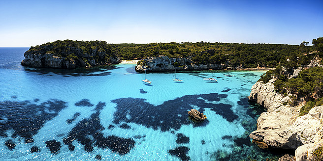 Menorca, View of Balearic Islands with boats - SMAF000015