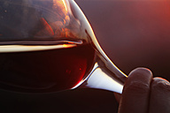 Germany, Mature woman holding red wine glass, close up - JT000021