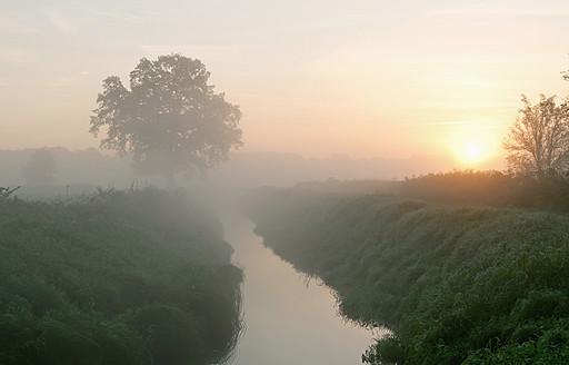 Germany, Brandenburg, View of river with mist - BFRF000080