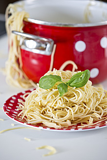 Germany, Plate of spaghetti with basil, pan in background - RFF000077