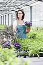 Germany, Bavaria, Munich, Mature woman in greenhouse with aster plants - RREF000004