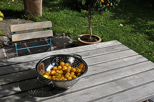 Germany, Baden Wuerttemberg, Yellow plums in colander on wooden table - AXF000308