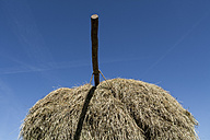 Germany, Bavaria, Hay cart with pole against sky - TCF002882