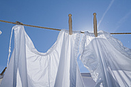 Germany, Drying clothes on washing line - TCF002892