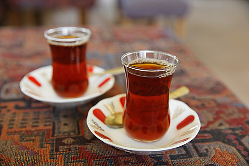 Europe, Turkey, Istanbul, Two glasses of cay - SIEF002936