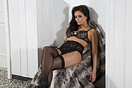 Young woman in black lingerie - MAE005235