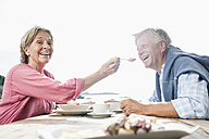 Spain, Senior couple having lunch, smiling - WESTF019059
