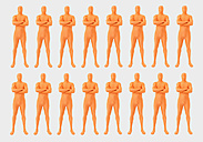Men in orange zentai standing on white background, close up - TCF003067