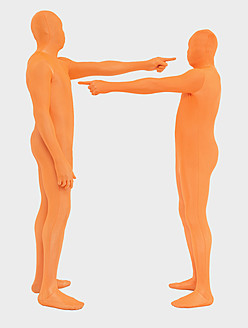 Men pointing to each other against white background - TCF003095