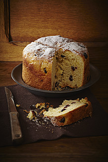 Panettone cake with cranberries and icing sugar on plate - ECF000163