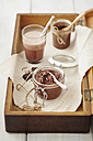 Mousse au Chocolat with hot chocolate on table - ECF000171