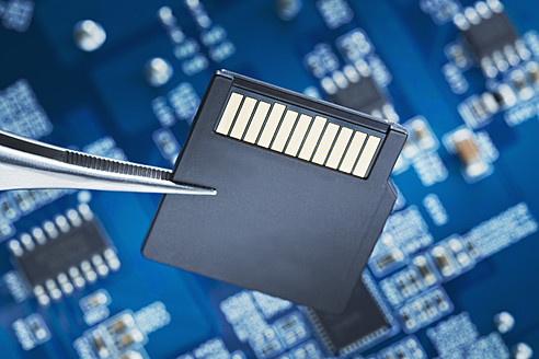 Close up of printed circuit board with Micro SD Card - DSCF000024