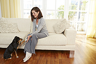 Germany, Duesseldorf, Mature woman with dog on sofa, smiling - STKF000142
