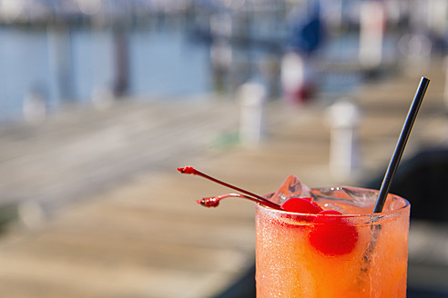 USA, Texas, Rockport, Cherry cocktail in glass - ABAF000646