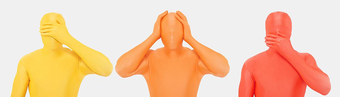 Men in zentai gesturing, close up - TCF003126
