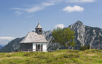 Austria, View of Postalm Chapel, Rinnkogel mountain in background - WWF002607
