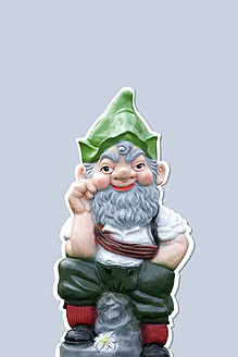Garden gnome against white background, close up - HSTF000027