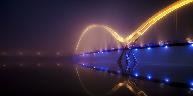 UK, England, View of Infinity Bridge at night - SMA000040