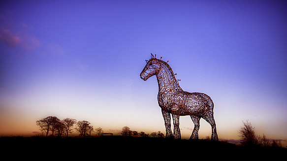UK, Scotland, Glasgow, Sculpture of Clydesdale Horse at Easterhouse - SMA000045