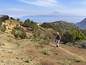 Spain, La Gomera, Mature woman hiking at Cumbre de Chijere - SIE003171