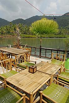 Thailand, Bar cafe restaurant with terrace on pier in Bang Bao bay  at Mu Ko Chang National Park - MIZ000126