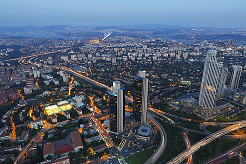 Europe, Turkey, Istanbul, View of financial district with Bosphorus Bridge - SIE003218