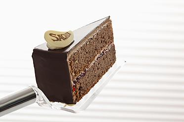 Slice of Sachertorte on cake server, close up - CSF016283