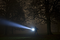 Germany, Munich, Man lighting spooky tree with torch in foggy night - FL000155