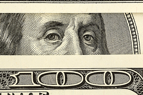 One Hundred US Dollar Notes, close up - EJWF000211