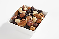 Variety of nuts and raisins in bowl, close up - CSF016515