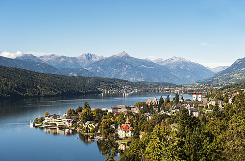 Austria, Carinthia, View of Millstatt and Millstatter See - HHF004315
