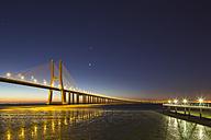 Portugal, Lisbon, View of Vasco da Gama bridge at River Tagus - FO004739