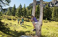 Austria, Salzburg, Family walking on mountains at Altenmarkt Zauchensee - HHF004386