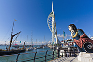 England, Hampshire, Portsmouth, View of Spinnaker Tower with Admiral Nelson at Gunwharf Quays - WD001468
