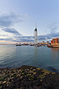 England, Hampshire, Portsmouth, View of Spinnaker Tower at Gunwharf Quays - WDF001477