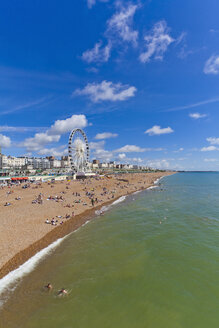 England, Sussex, Brighton, View of beach and big wheel in background - WDF001498