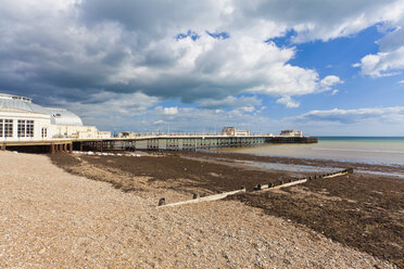 England, Sussex, View of beach at Worthing Pier - WDF001576