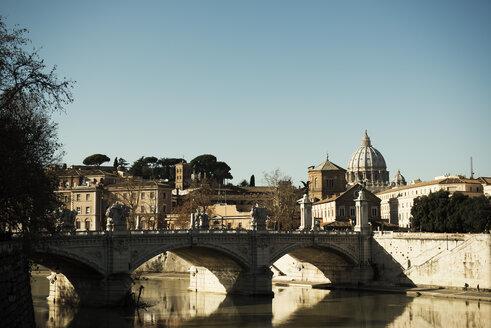 Italy, Rome, Tiber bridge with St Peters Basilica - KA000061