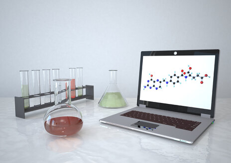 3d illustration of laptop with laboratory equipment - ALF000004