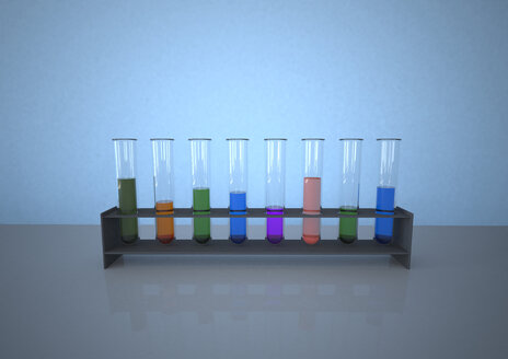 Colourful test tubes in rack against blue background - AL000013